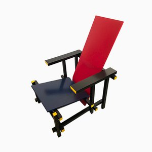 Sessel in Rot & Blau von Gerrit Rietveld für Cassina, 1994