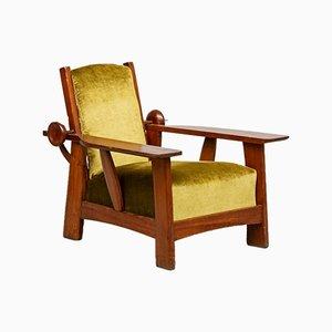 Verstellbare Kiefernholz Sessel mit Grünem Samtbezug von Guglielmo Ulrich, 1930er, 2er Set