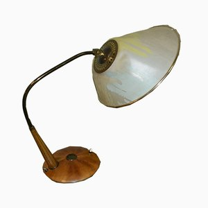 Mid-Century Wooden and Brass Table Lamp, 195ös