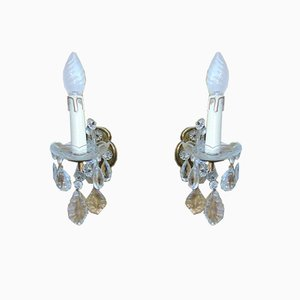 Brass and Crystal Sconces, 1970s, Set of 2