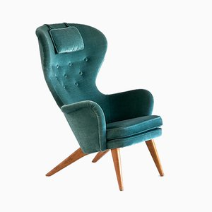 Finnish Teal Velvet Armchair by Carl Gustaf Hiort af Ornäs for Puunveisto OY, 1952