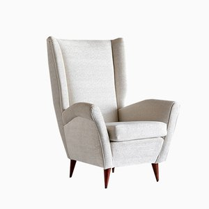 Italian Ivory Chenille and Walnut High Back Armchair by Gio Ponti, 1940s