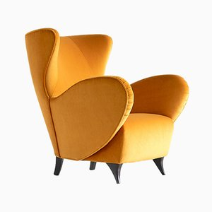 Italian Gold Velvet Sculptural Turin School Wingback Armchairs, 1940s, Set of 2
