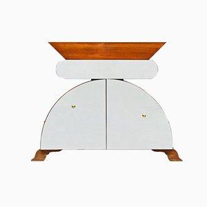 Italienisches Sideboard aus Holz mit Spiegel von Nanda Vigo, 1980er