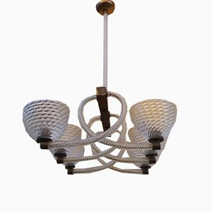 Glass 6-Light Ceiling Lamp from Barovier & Toso, 1940s