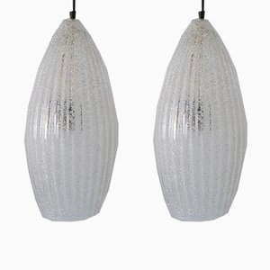 Mid-Century Modern Textured Glass Pendant Ceiling Lamps, 1960s, Set of 2