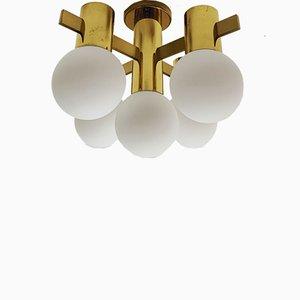 Schwedische Messing Deckenlampe, 1960er