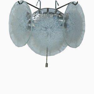 Wandleuchte aus verchromtem Messing & Murano Glas von Vistosi, 1960er