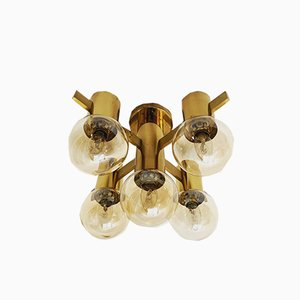 Swedish Brass Ceiling Lamp, 1960s