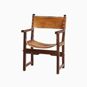 Vintage Hand-Crafted Leather and Oak Lounge Chair, 1970s