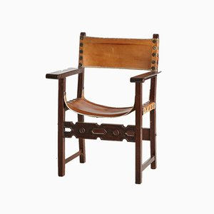 Handgefertigter Vintage Leder und Eiche Sessel, 1970er