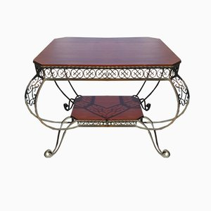 Vintage French Wrought Iron and Mahogany Coffee Table, 1940s
