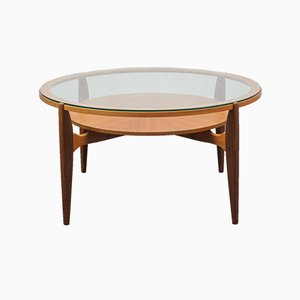 Glass & Teak Coffee Table, 1960s