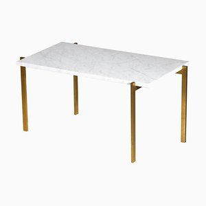 Brass & Carrara Marble Coffee Table in the Style of Poul Kjaerholm, 1960s