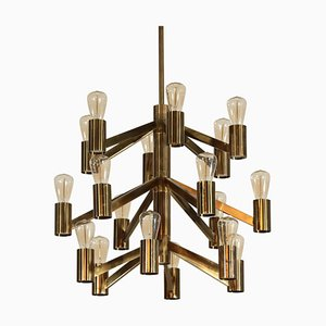 Swedish Brass Chandelier by Axel Annell, 1950s