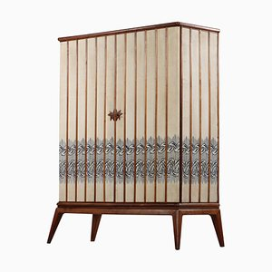 Italian Embroidered Fabric Wardrobe or Armoire Attributed to Gio Ponti, 1960s