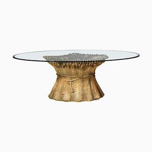 Goldener Italienischer Couchtisch aus Keramik & Glas, 1960er