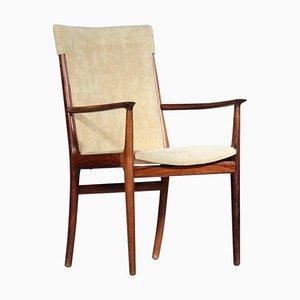 Scandinavian Rosewood & Velvet Armchair by Kai Lyngfeldt Larsen for Soren Willadsen, 1960s