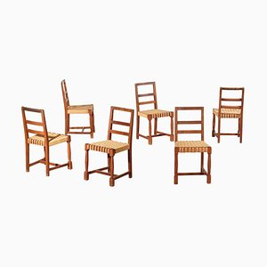 Modernist Oak Dining Chairs in the Style of Jacques Adnet, 1950s, Set of 6