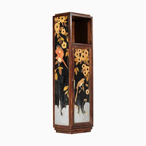 French Art Deco Marquetry with Bird Decor Cabinet Console, 1940s