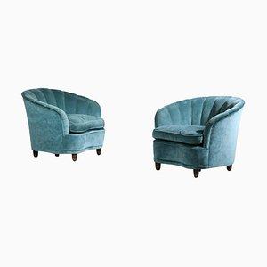Italian Velvet Armchairs by Gio Ponti, 1960s, Set of 2