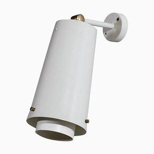 Große Schwedische Weiße Wandlampe, 1960er