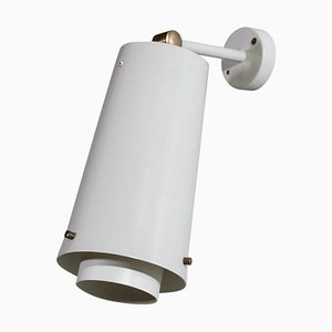 Large Swedish White Wall Light, 1960s