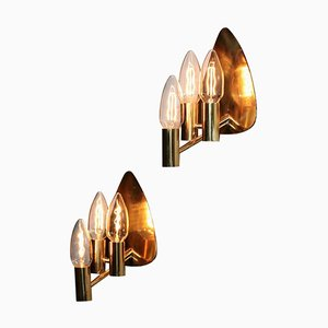 Swedish Brass Wall Lights, 1960s, Set of 2