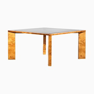 Italian Burlwood & Glass Dining Table in the Style of Willy Rizzo, 1970s