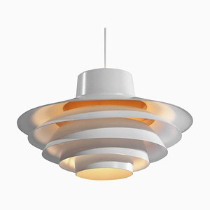 Scandinavian White Pendant Lamp from Lyfa, 1960s