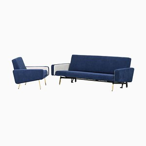 French Sofa Bed & Armchairs by Pierre Guariche for Airborne, 1960s, Set of 3