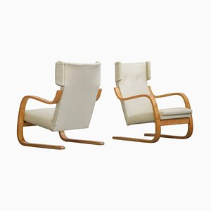 Finnish Model 401 Lounge Chairs by Alvar Aalto, 1930s, Set of 2