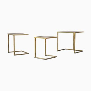 Brass Nesting Tables with Mirror on Top, 1960s