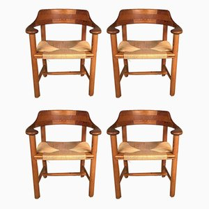 Pinewood and Papercord Dining Chairs by Rainer Daumiller for Hirtshals Sawmill, 1970s, Set of 4