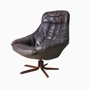 Danish Brown Leather Swivel Lounge Chair by H. W. Klein for Bramin, 1960s