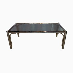 Faux Bamboo Brass Coffee Table, 1960s