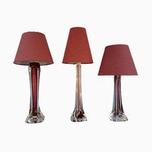 Mid-Century Burgund Coquille Tischlampen von Paul Kedelv für Flygsfors Bruk, 1960er, 3er Set