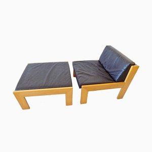 Schwarzer Sessel und Fußhocker von Wilkhahn, 1960er, 2er Set