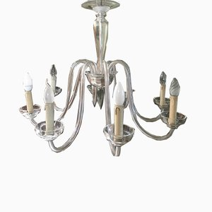Murano Glass Transparent 8-Light Chandelier, 1950s