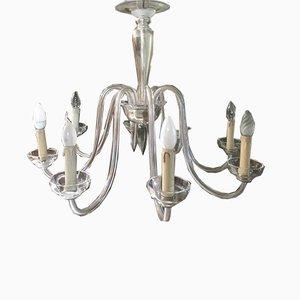 Murano Glass Transparent 8-Light Chandelier, 1950s