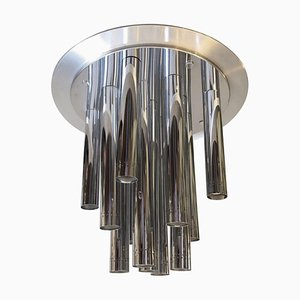 Italian Space Age Chrome 13-Light Chandelier from Reggiani, 1970s