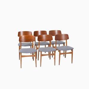 Dänische Esszimmerstühle aus Teak & Eiche, 1950er, 6er Set