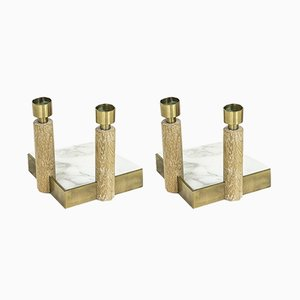 Swedish Oak & Brass Candleholders by Hans-Agne Jakobsson for Hans-Agne Jakobsson AB Markaryd, 1950s, Set of 2