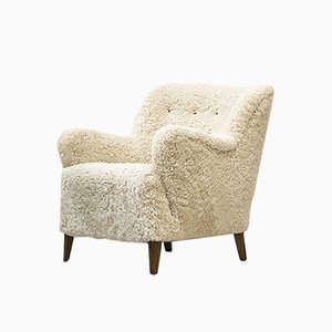 Danish Sheepskin Lounge Chair in the Style of Flemming Lassen, 1940s