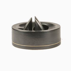 Italian Black Ceramic Ashtray by Franco Bucci, 1970s