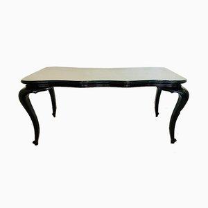 Mesa de comedor de madera y cristal oscuros, años 50