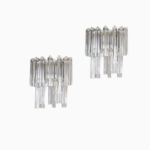 Murano Glass Triedri Sconces from Venini, 1960s, Set of 2