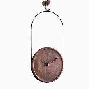 Horloge Murale en Noyer et Eslabon Noir par Andrés Martínez pour Nomon