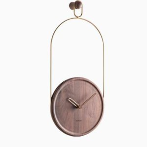 Brass & Walnut Eslabon Wall Clock by Andrés Martínez for Nomon
