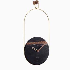 Brass & Sahara Noir Eslabon Wall Clock by Andrés Martínez for Nomon